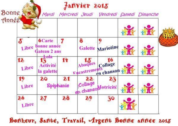 Planning de janvier 2015