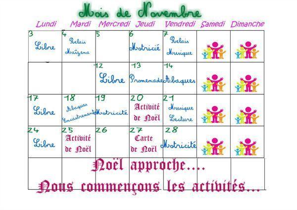 Planning de Novembre